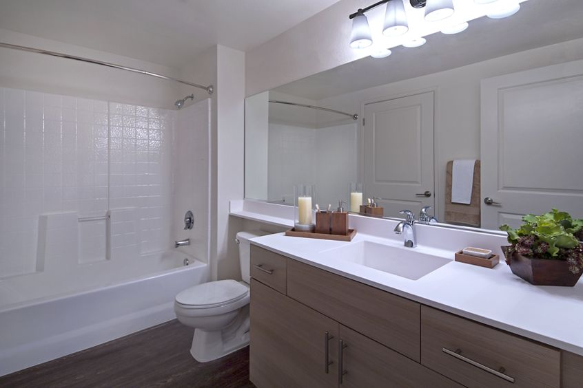 Interior view of bathroom at Harborview Apartment Homes in San Diego, CA.