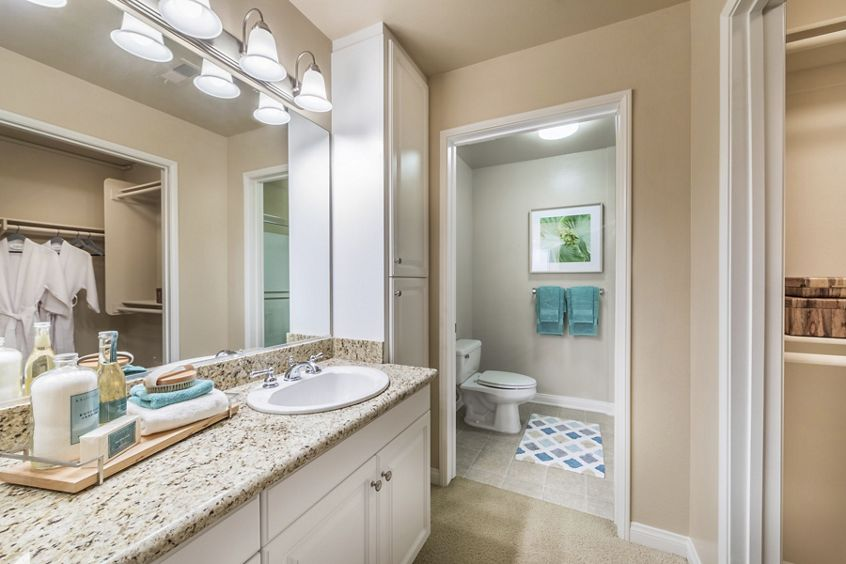 Interior view of bathroom at La Jolla Palms Apartment Homes in San Diego, CA.