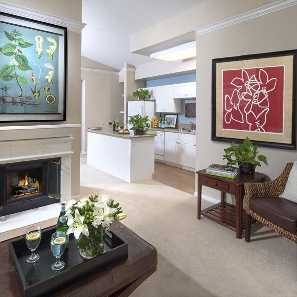 Interior view of living room at Monte Vista Apartment Homes in Mission Valley, CA.