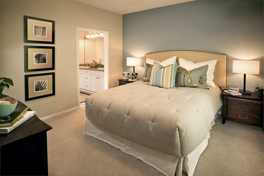 Interior view of bedroom at Monte Vista Apartment Homes in Mission Valley, CA.