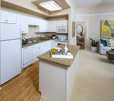 Interior view of kitchen and office space at Monte Vista Apartment Homes in Mission Valley, CA.