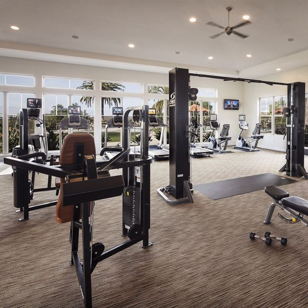 Interior view of fitness center at Pacific View Apartment Homes in San Diego, CA.