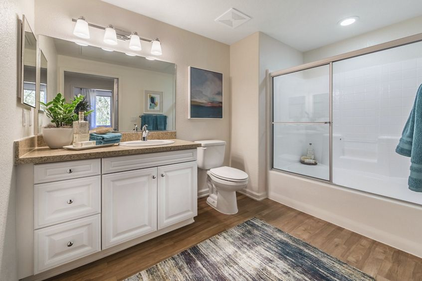 Interior view of bathroom at Pacific View Apartment Homes in Carlsbad, CA.