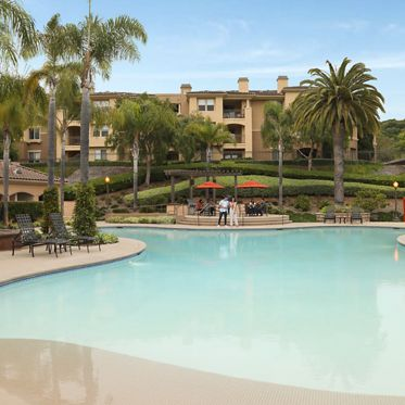 Pool view at Pacific View Apartment Homes in Carlsbad, CA.