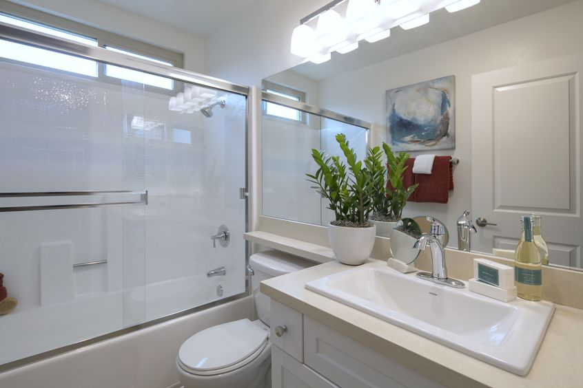Interior view of bathroom at Seascape Apartment Homes in Carlsbad, CA.