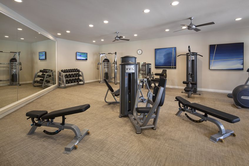Interior view of fitness center at Solazzo Apartment Homes in La Jolla, CA.