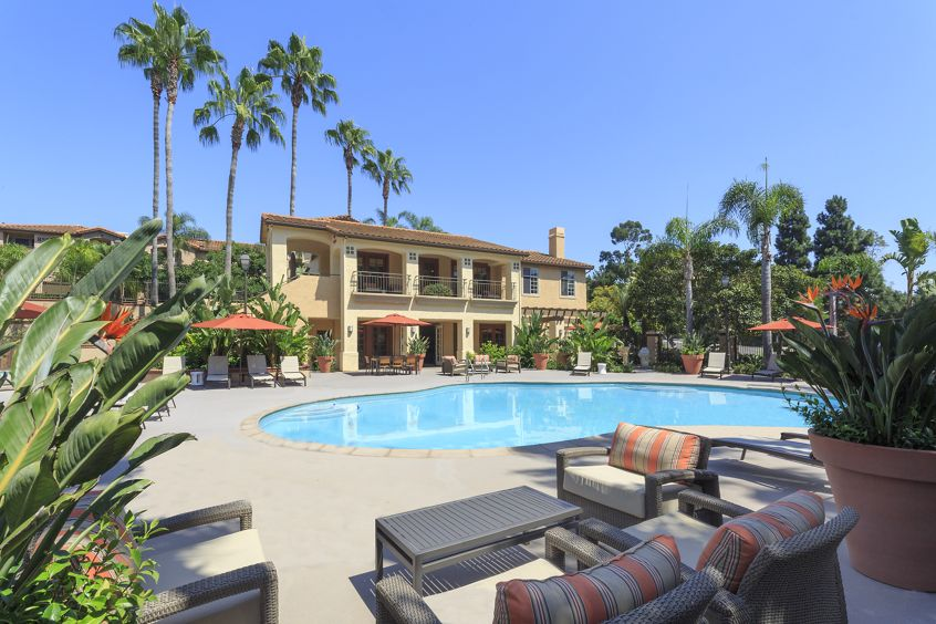 Exterior view of pool at Solazzo Apartment Homes in La Jolla, CA.