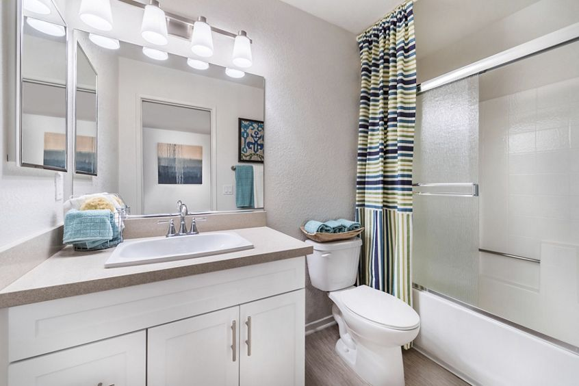 Interior view of bathroom at Solazzo Apartment Homes in La Jolla, CA.