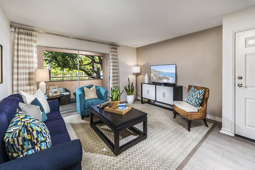 Interior view of living room at Solazzo Apartment Homes in La Jolla, CA.