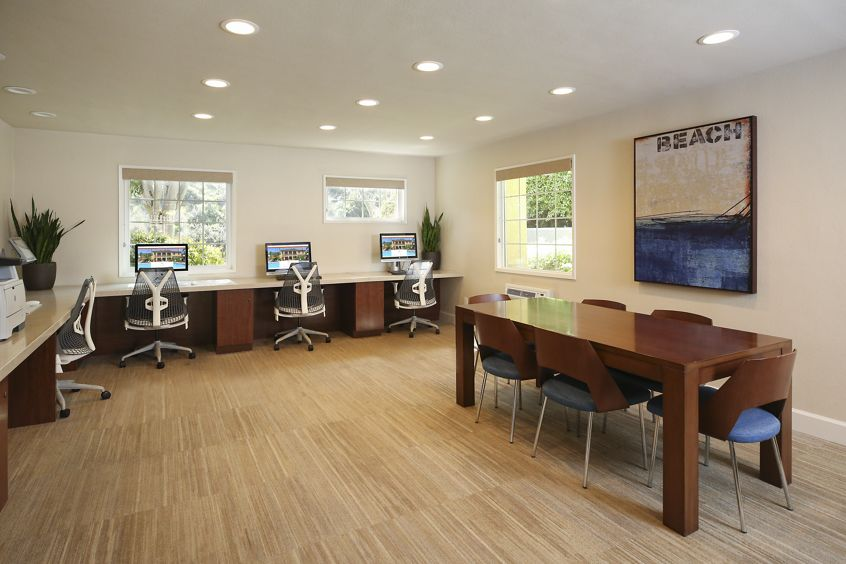 Interior view of business center at Solazzo Apartment Homes in La Jolla, CA.