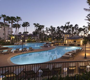 Exterior views of The Oasis pool and lap pool at The Village Mission Valley Apartment Homes in San Diego, CA.