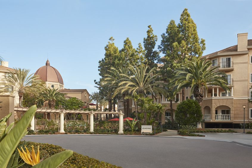 Exterior view of The Villas of Renaissance Apartment Homes in San Diego, CA.