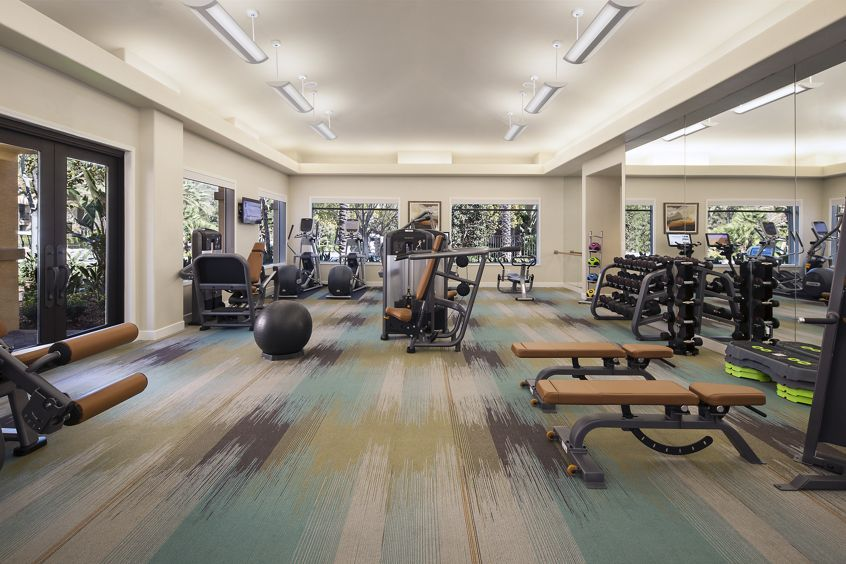 Interior view of fitness center at Torrey Hills Apartment Homes in San Diego, CA.