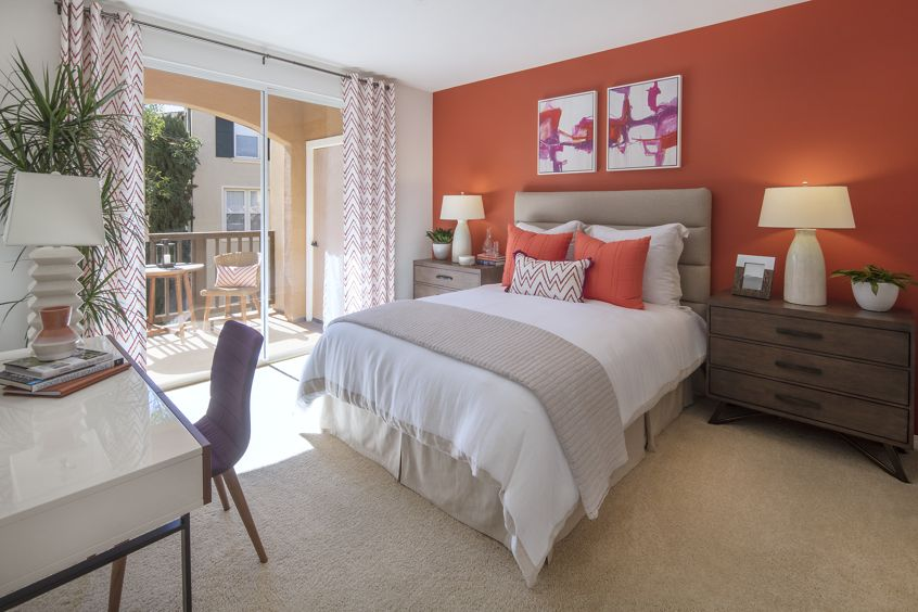 View of bedroom at Torrey Ridge Apartment Homes in Carmel Valley, CA.