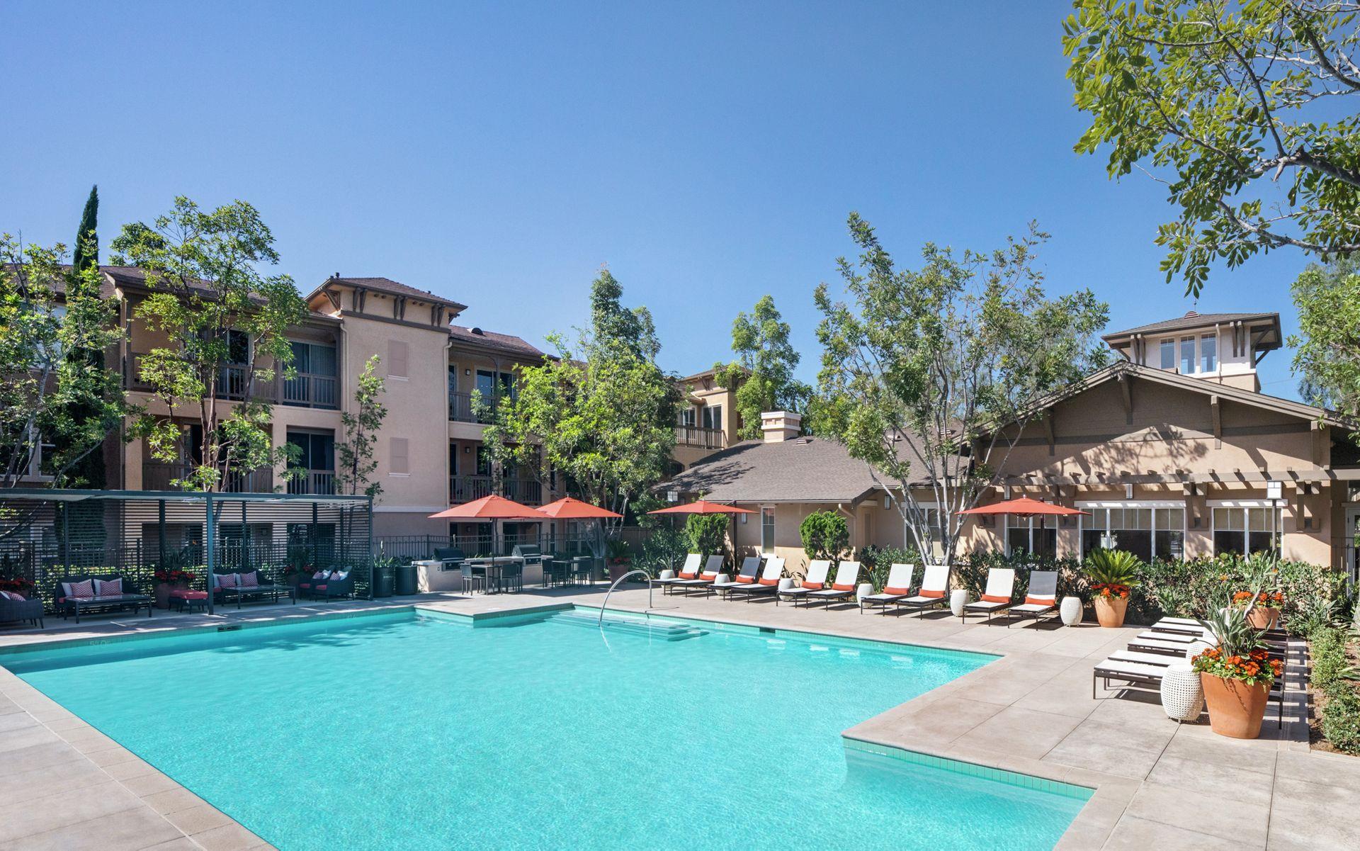 Pool view at Torrey Ridge Apartment Homes in San Diego, CA.