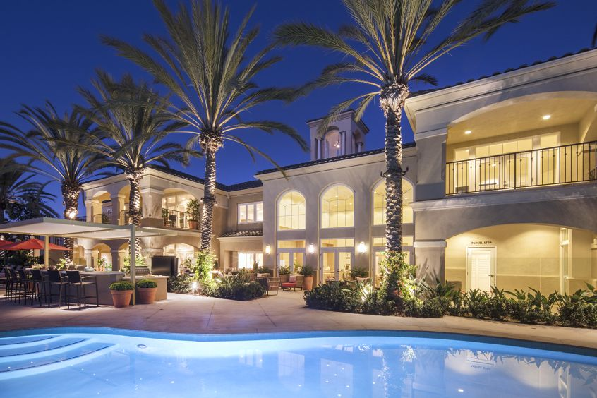 Exterior view of pool at Torrey Villas Apartment Homes in San Diego, CA.