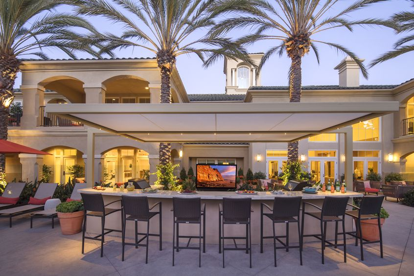 Exterior view of BBQ area at Torrey Villas Apartment Homes in San Diego, CA.