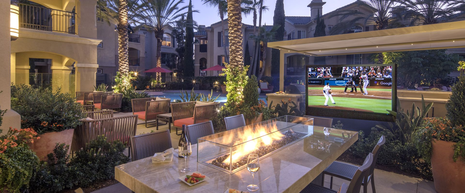 Exterior view of outdoor patio area at Torrey Villas Apartment Homes in San Diego, CA.