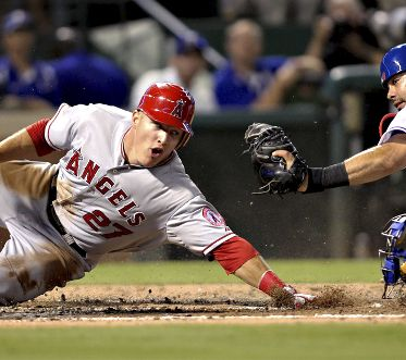 Mike Trout #27 in action batting against the Yankees. Photo by Matt Brown/Angels Baseball LP