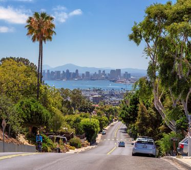 San Diego, California - July 4, 2016: The view of the city of San Diego with city streets