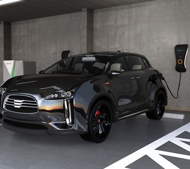 Black electric SUV recharging in parking garage. 3D rendering image
