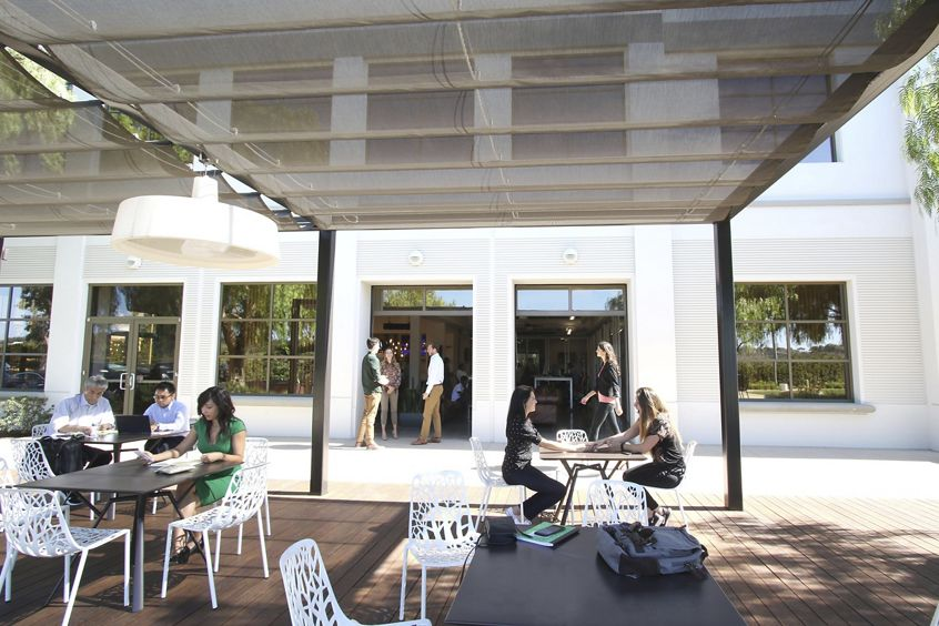 Customer suite photography featuring outdoor patio Commons area (part of the Vine) by 5151 California - UCI Research Park in Irvine, CA.