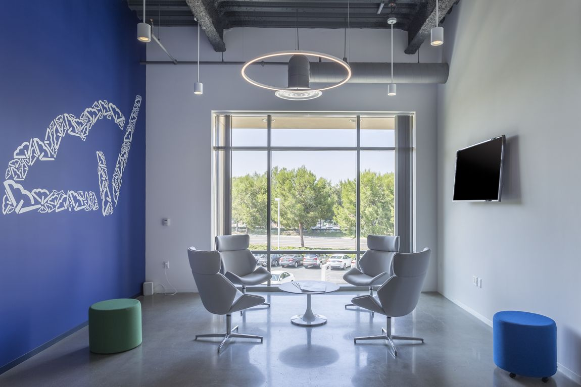 Customer suite photography of Cloudvirga at Jamboree Business Center -- a high end creative office space with open ceiling and polished concrete floors at 2875 Michelle Dr, suite 200, Irvine, CA 92606
