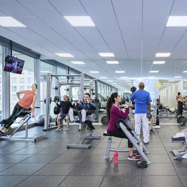 Lifestyle photography of the KINETIC fitness center located at 300 North LaSalle in Chicago, IL