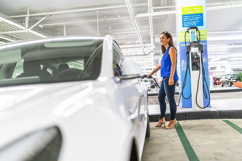 Lifestyle photography of the EV charging stations located at the Western Asset Plaza parking structure in Pasadena, CA