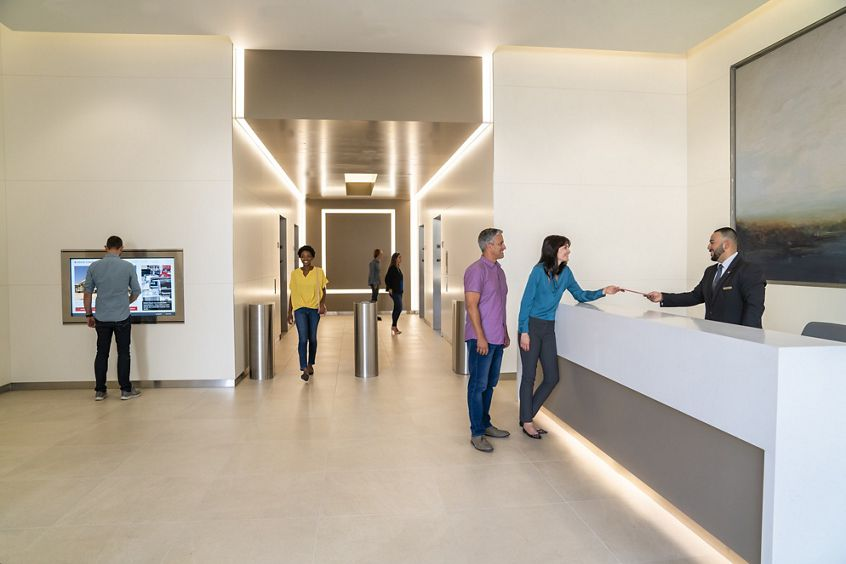 Lifestyle photography of the building lobby at Western Asset Plaza in Pasadena, CA