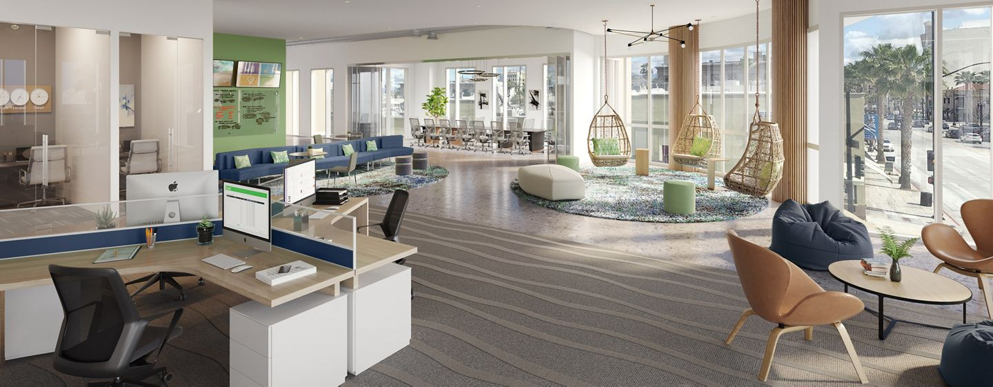 Rendering of a creative suite at Western Asset Plaza, Pasadena, Los Angeles, Ca