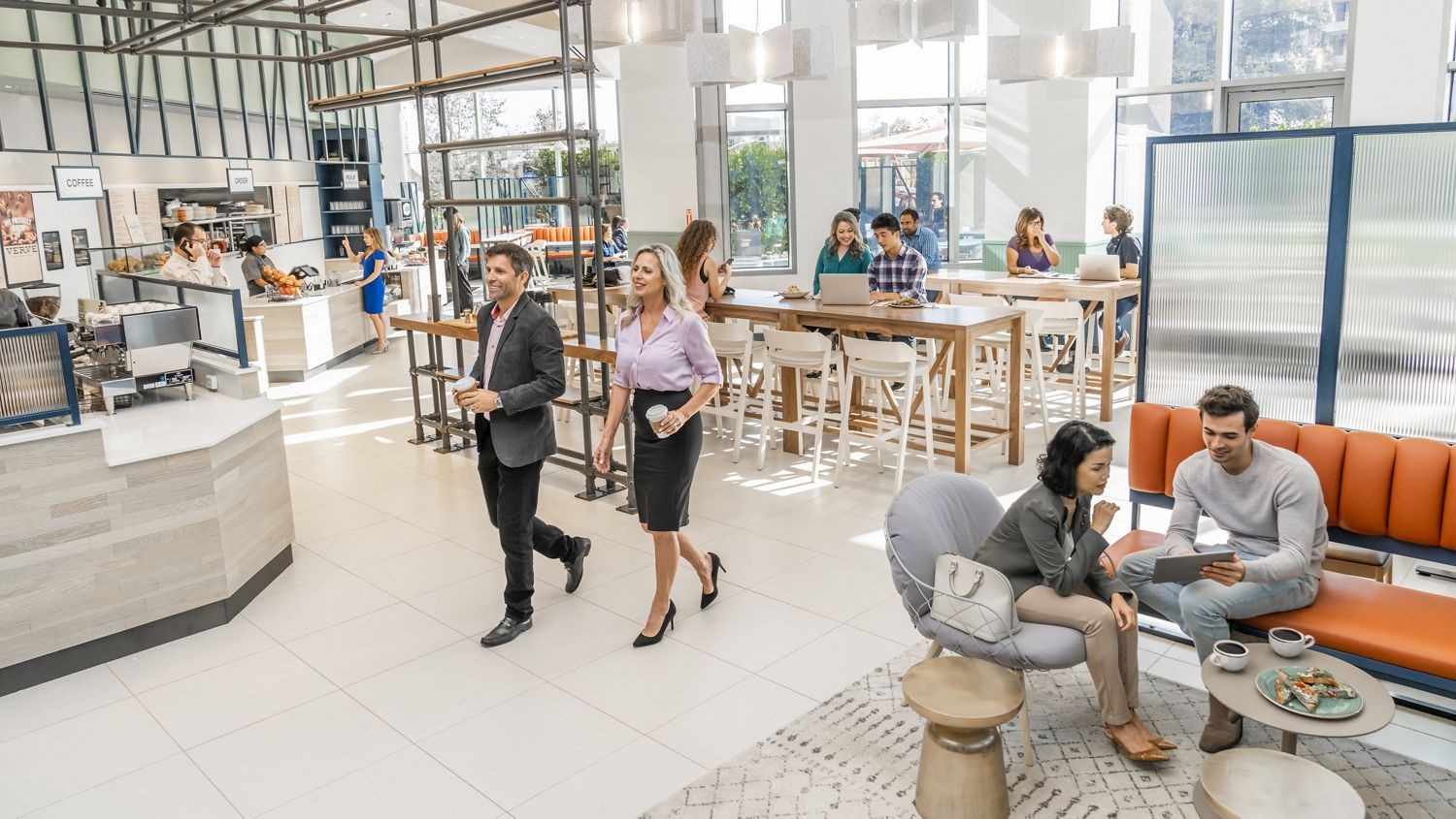 Interior view of people at Pacific Kitchen at Fox Plaza Office Properties in Los Angeles, CA.
