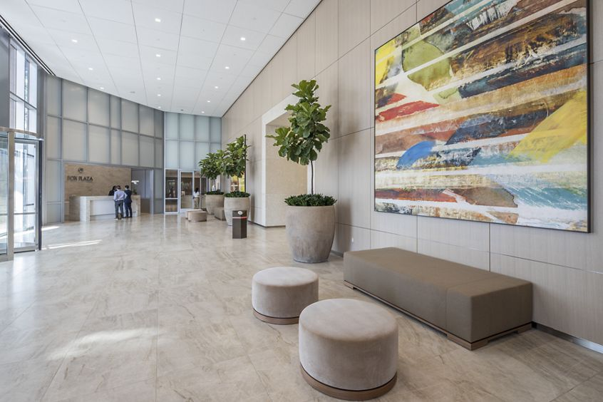 Interior view of lobby at Fox Plaza in Irvine, CA.