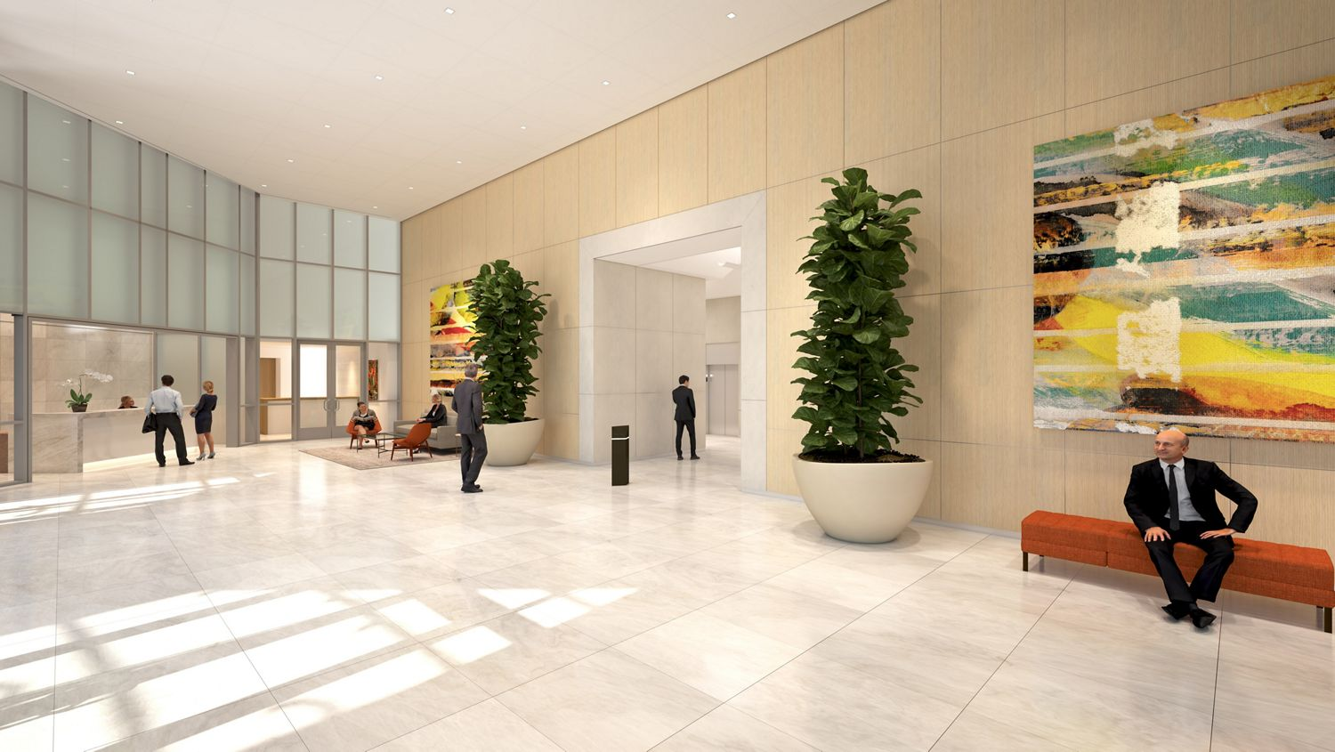 Rendering of the lobby at Fox Plaza in Los Angeles, CA