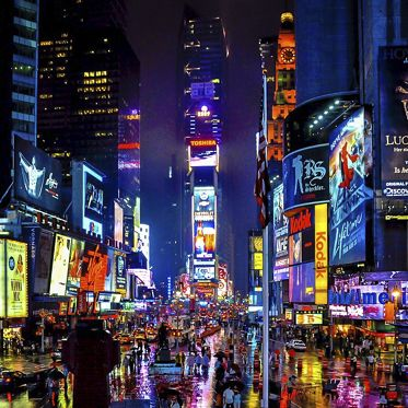 Times Square in New York on a rainy night.