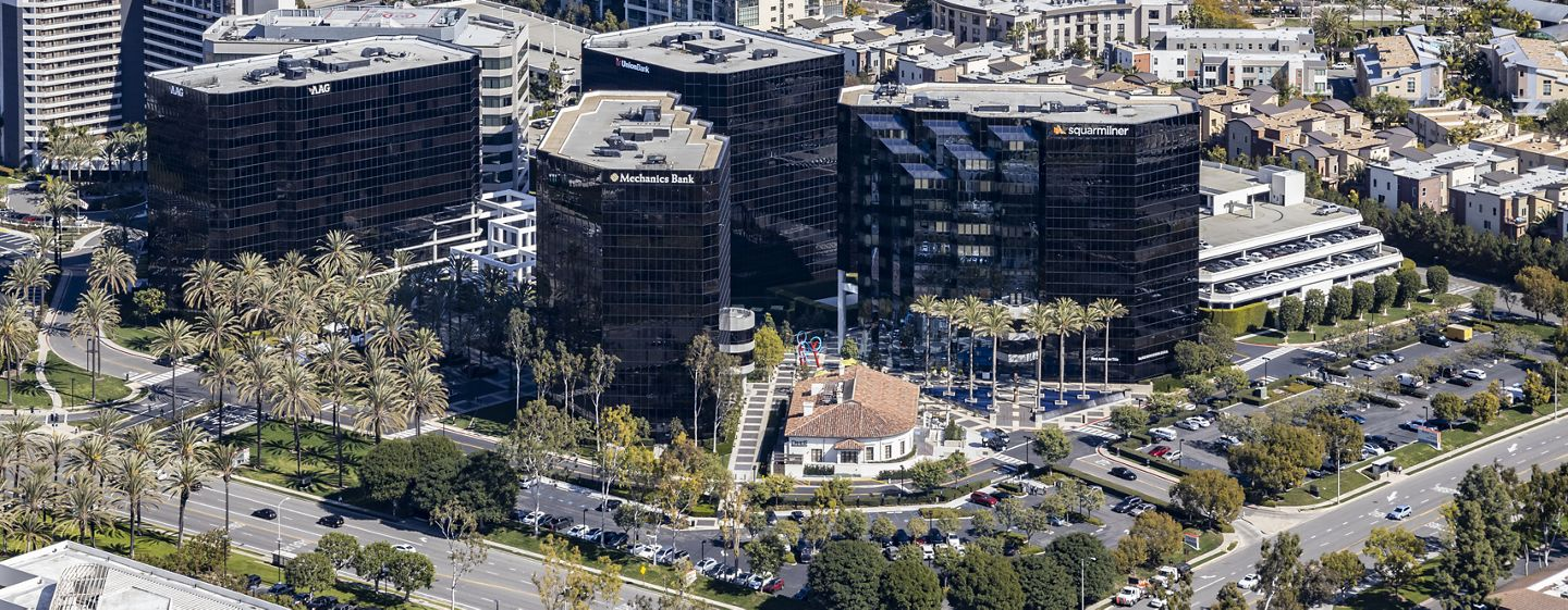 Aerial view of Irvine Towers in Irvine, CA.
