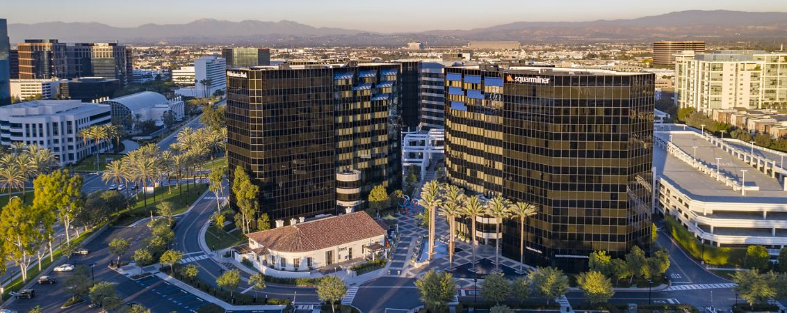 Aerial photography of Irvine Towers featuring snowy mountains in Irvine, CA