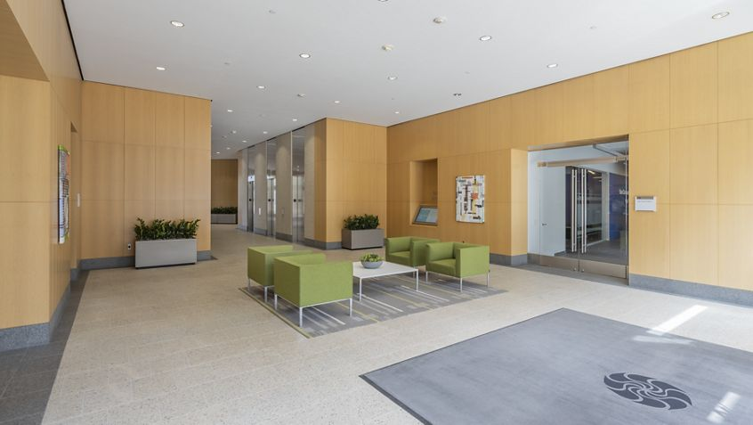 Interior view of lobby in 18100 Von Karman Avenue at Irvine Towers in Irvine, CA.