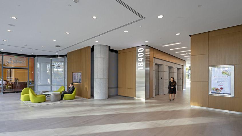 Interior photography of the lobby at Irvine Towers - 18400 Von Karman Avenue, Irvine, CA