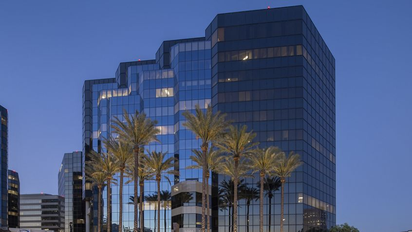 Hero photography of building exteriors at 18500 Von Karman Avenue - Irvine Towers in Irvine, CA