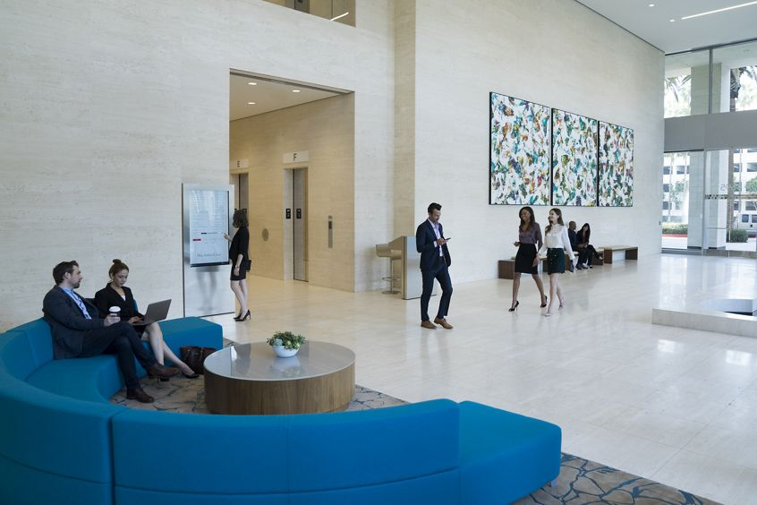 Lifestyle photography of lobby at 4695 MacArthur Court, Newport Beach, Ca