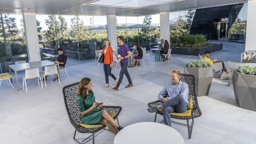 Lifestyle photography of the outdoor pavilion at Newport Gateway