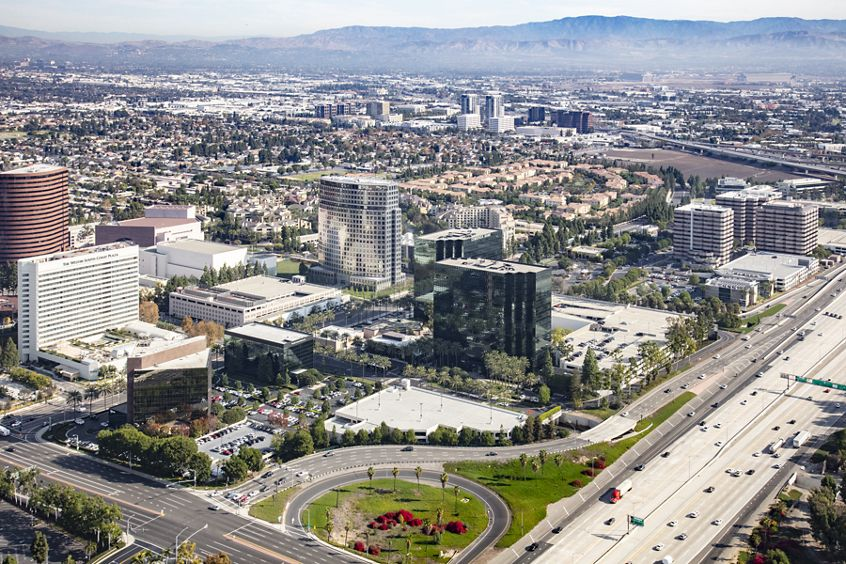 Aerial photography of Pacific Arts Plaza in Costa Mesa, CA