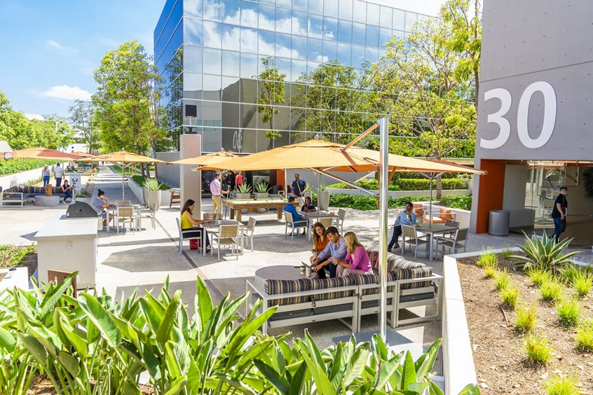 Lifestyle photography of The Commons near 38, 32 and 30 Executive Park at Venture Park in Irvine, CA