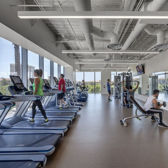 Interior view of Kinetic at 200 Spectrum Center in Irvine, CA.