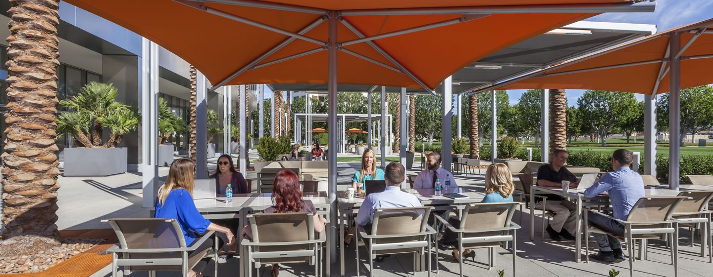 Outdoor workspace at 200 Spectrum Center office building.
