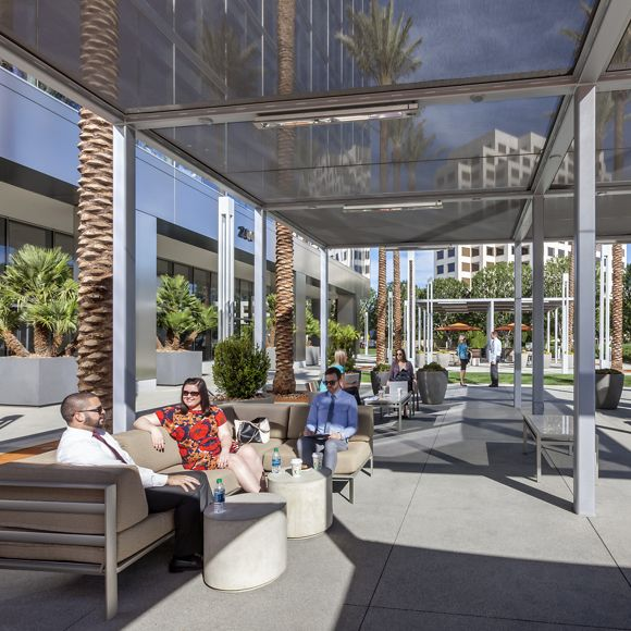 View of the outdoor workspace at 200 Spectrum Center in Irvine, CA.