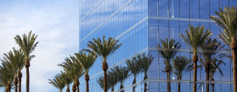 Exterior views of 200 Spectrum Center office building in Irvine Spectrum. Lamb 2016.