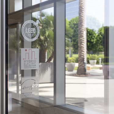 Sustainability signage for LEED, ENERGY STAR and the Hybrid Electric Collection at 200 Spectrum Center in Irvine, CA