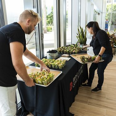 Salad demo customer event at The Patio Marketplace - 400 Spectrum Center in Irvine, CA